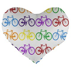 Rainbow Colors Bright Colorful Bicycles Wallpaper Background Large 19  Premium Flano Heart Shape Cushions by Simbadda