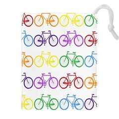 Rainbow Colors Bright Colorful Bicycles Wallpaper Background Drawstring Pouches (xxl) by Simbadda