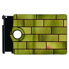 Modern Green Bricks Background Image Apple Ipad 3/4 Flip 360 Case by Simbadda