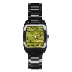 Modern Green Bricks Background Image Stainless Steel Barrel Watch by Simbadda