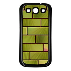 Modern Green Bricks Background Image Samsung Galaxy S3 Back Case (black) by Simbadda