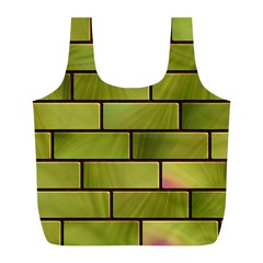 Modern Green Bricks Background Image Full Print Recycle Bags (l)  by Simbadda