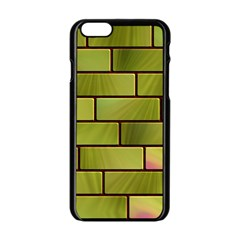 Modern Green Bricks Background Image Apple Iphone 6/6s Black Enamel Case by Simbadda