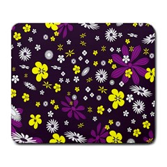 Flowers Floral Background Colorful Vintage Retro Busy Wallpaper Large Mousepads by Simbadda