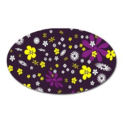 Flowers Floral Background Colorful Vintage Retro Busy Wallpaper Oval Magnet by Simbadda
