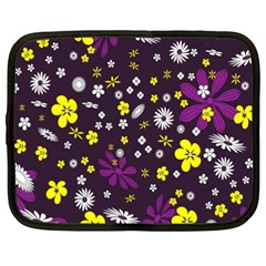 Flowers Floral Background Colorful Vintage Retro Busy Wallpaper Netbook Case (xxl)