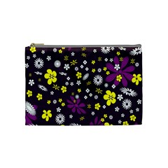 Flowers Floral Background Colorful Vintage Retro Busy Wallpaper Cosmetic Bag (medium)