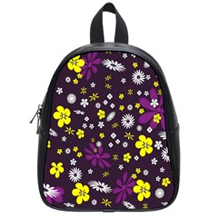 Flowers Floral Background Colorful Vintage Retro Busy Wallpaper School Bags (small)  by Simbadda