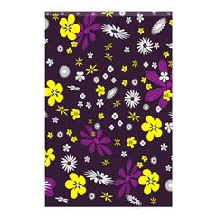 Flowers Floral Background Colorful Vintage Retro Busy Wallpaper Shower Curtain 48  X 72  (small)  by Simbadda