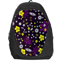Flowers Floral Background Colorful Vintage Retro Busy Wallpaper Backpack Bag