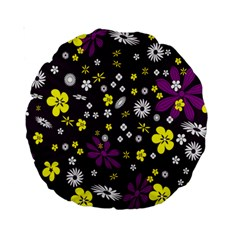 Flowers Floral Background Colorful Vintage Retro Busy Wallpaper Standard 15  Premium Round Cushions