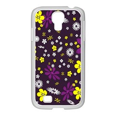 Flowers Floral Background Colorful Vintage Retro Busy Wallpaper Samsung Galaxy S4 I9500/ I9505 Case (white)