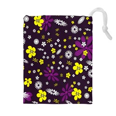 Flowers Floral Background Colorful Vintage Retro Busy Wallpaper Drawstring Pouches (extra Large) by Simbadda