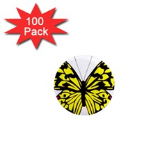 Yellow A Colorful Butterfly Image 1  Mini Magnets (100 Pack)  by Simbadda