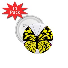 Yellow A Colorful Butterfly Image 1 75  Buttons (10 Pack) by Simbadda