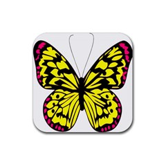 Yellow A Colorful Butterfly Image Rubber Coaster (square)  by Simbadda