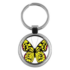 Yellow A Colorful Butterfly Image Key Chains (round)  by Simbadda