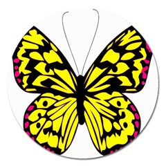 Yellow A Colorful Butterfly Image Magnet 5  (round) by Simbadda
