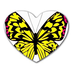 Yellow A Colorful Butterfly Image Heart Mousepads