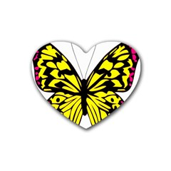 Yellow A Colorful Butterfly Image Rubber Coaster (heart)