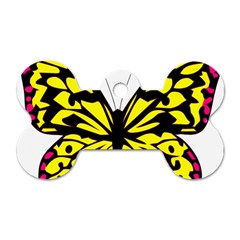 Yellow A Colorful Butterfly Image Dog Tag Bone (one Side) by Simbadda