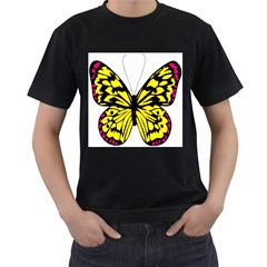 Yellow A Colorful Butterfly Image Men s T Shirt (black)
