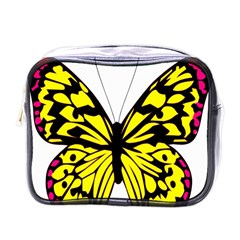 Yellow A Colorful Butterfly Image Mini Toiletries Bags by Simbadda