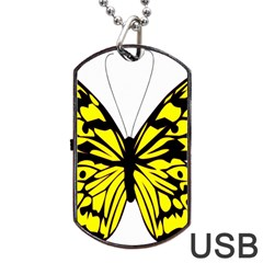 Yellow A Colorful Butterfly Image Dog Tag Usb Flash (two Sides) by Simbadda