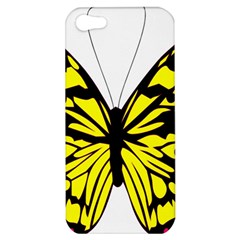 Yellow A Colorful Butterfly Image Apple Iphone 5 Hardshell Case by Simbadda