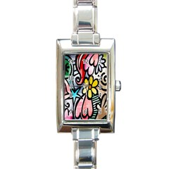 Digitally Painted Abstract Doodle Texture Rectangle Italian Charm Watch by Simbadda