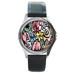 Digitally Painted Abstract Doodle Texture Round Metal Watch