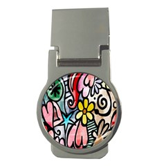 Digitally Painted Abstract Doodle Texture Money Clips (round)  by Simbadda