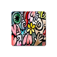 Digitally Painted Abstract Doodle Texture Square Magnet by Simbadda