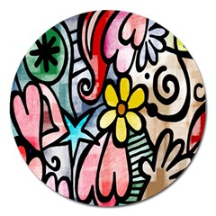 Digitally Painted Abstract Doodle Texture Magnet 5  (round)
