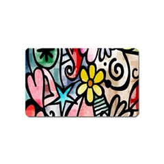 Digitally Painted Abstract Doodle Texture Magnet (name Card) by Simbadda