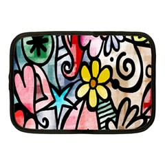 Digitally Painted Abstract Doodle Texture Netbook Case (medium)  by Simbadda