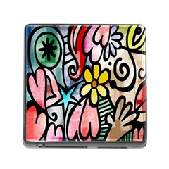 Digitally Painted Abstract Doodle Texture Memory Card Reader (square) by Simbadda