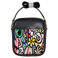 Digitally Painted Abstract Doodle Texture Girls Sling Bags by Simbadda