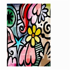 Digitally Painted Abstract Doodle Texture Small Garden Flag (two Sides) by Simbadda