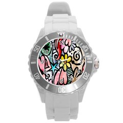 Digitally Painted Abstract Doodle Texture Round Plastic Sport Watch (l) by Simbadda