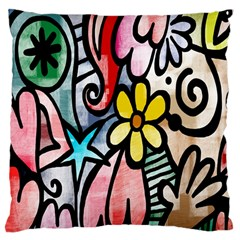 Digitally Painted Abstract Doodle Texture Large Cushion Case (two Sides) by Simbadda