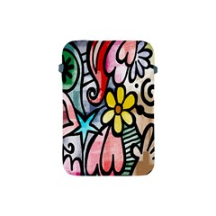 Digitally Painted Abstract Doodle Texture Apple Ipad Mini Protective Soft Cases by Simbadda