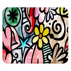 Digitally Painted Abstract Doodle Texture Double Sided Flano Blanket (small)