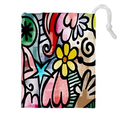 Digitally Painted Abstract Doodle Texture Drawstring Pouches (xxl)