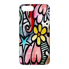Digitally Painted Abstract Doodle Texture Apple Iphone 7 Plus Hardshell Case by Simbadda