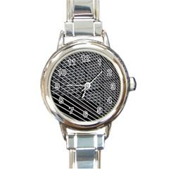 Abstract Architecture Pattern Round Italian Charm Watch by Simbadda