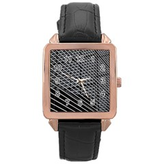 Abstract Architecture Pattern Rose Gold Leather Watch  by Simbadda