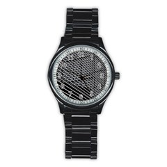 Abstract Architecture Pattern Stainless Steel Round Watch by Simbadda