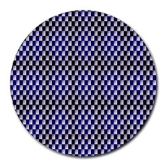Squares Blue Background Round Mousepads by Simbadda
