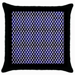 Squares Blue Background Throw Pillow Case (black) by Simbadda